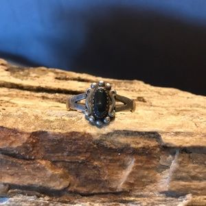 Native American Sterling Silver & Hematite Ring